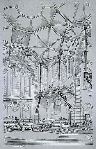 Eugène Viollet-le-Duc - Design for a concert hall, dated 1864, expressing Gothic principles in modern materials; brick, stone and cast iron. Entretiens sur l'architecture