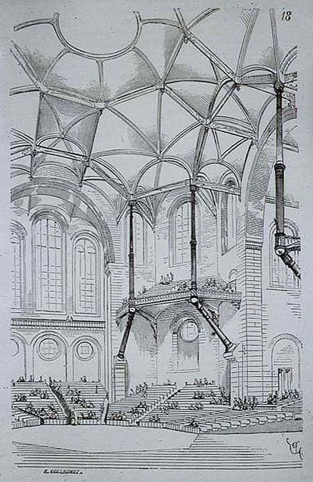 Design for a concert hall, dated 1864, expressing Gothic principles in modern materials; brick, stone and cast iron. Entretiens sur l'architecture Viollet-le-DucConcertHallEntretiens.jpg
