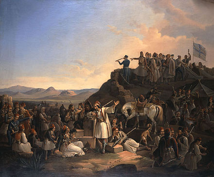 """The camp of Georgios Karaiskakis at Phaliro"" by Theodoros Vryzakis Vryzakis-Stratopedo Karaiskaiki.jpg"
