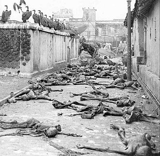 Direct Action Day - Vultures and corpses in the street of Calcutta, August 1946