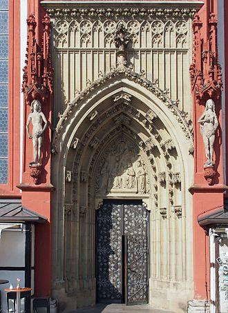 Marienkapelle, Würzburg - Southern portal with copies of Adam and Eve by Tilman Riemenschneider