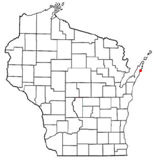 Jacksonport, Wisconsin - Image: WI Map doton Jacksonport