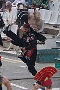 Pakistani border soldier performing a high kick at the Wagah border ceremony in 2015.