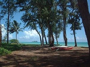 Waimanalo Beach, Hawaii - Peaceful and typical scene behind the residential areas of Waimānalo