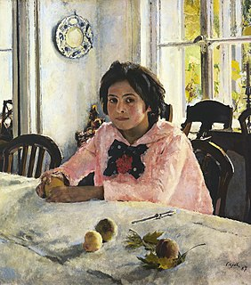 <i>Girl with Peaches</i> painting by Valentin Serov