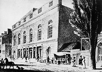 Walnut Street Theatre - Drawing by Charles Burton (c. 1830)