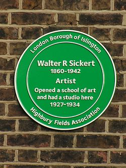 Walter r sickert 1860 1942 artist opened a school of art and had a studio here 1927 1934
