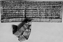 Black and white photograph of a mediaeval charter