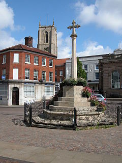 Fakenham town in Norfolk, England