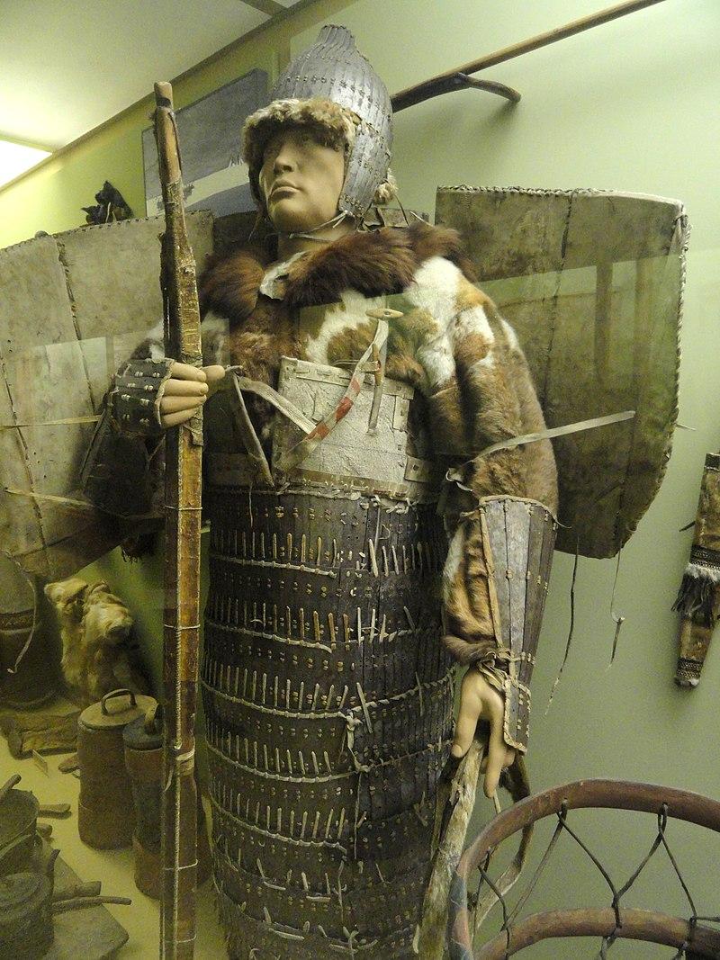 Warrior armor and sinew bow, Chukchi, 19th century - AMNH - DSC06208.JPG