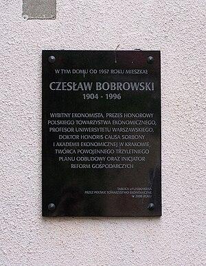 Czesław Bobrowski - Memorial plaque in Warsaw-Żoliborz