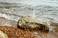 Water splashing on rocks at Milford on Sea (1251197802).jpg