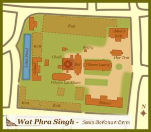 Wat Phra Singh - A simplified plan of Wat Phra Singh