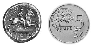 Celtic coinage - Biatec original coin on the left; a modern 5 koruna on the right.
