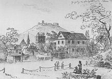 Das Kernerhaus um 1826. Tuschezeichnung von Carl Dörr (Quelle: Wikimedia)