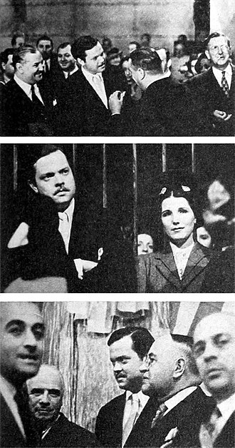Office of the Coordinator of Inter-American Affairs - As a goodwill ambassador in 1942, Orson Welles toured the Estudios San Miguel in Buenos Aires, meeting with Argentine film personalities including (center photograph) actress Libertad Lamarque.
