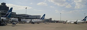 English: WestJet aircraft at Edmonton Internat...