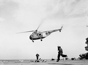Westland Whirlwind taking off from HMS Ocean (R68) Suez 1956.jpg