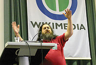 "Richard Stallman giving a speech about ""Copyright and Community"" at Wikimania (2005)"