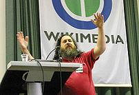 Richard Stallman giving a speech about
