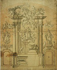 Design for an altar with the Ascension of the Virgin Mary