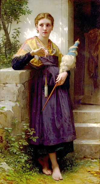 Hand spinning - The Spinner by William-Adolphe Bouguereau shows a woman hand-spinning using a drop spindle.  Fibers to be spun are bound to a distaff held in her left hand.