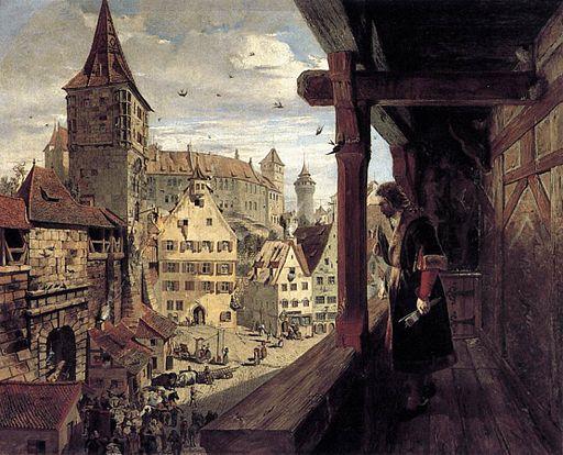 William Bell Scott - Albrecht Duerer on the Balcony of his House