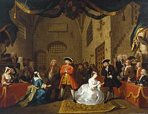 Charles Powlett, 3rd Duke of Bolton - Hogarth's painting of The Beggar's Opera, scene VI, act III, 1731, (22.5 x 30 inches), featuring Lavinia as Polly Peacham (in white), with the Duke in the audience on the right, in blue wearing his Garter Star.