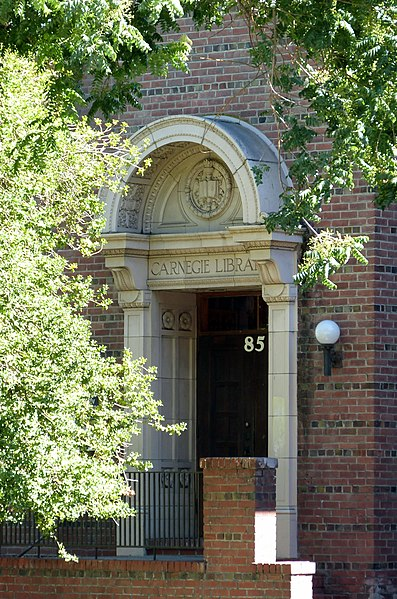 Description Willits Carnegie Library door Willits California