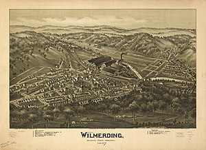 Wilmerding, Pennsylvania - Bird's-eye view of Wilmerding in 1897 by T.M. Fowler