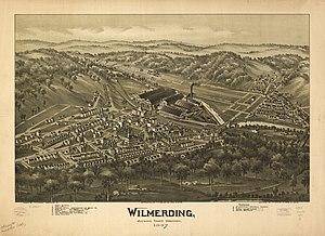 Wilmerding, Pennsylvania - Bird's-eye view of Wilmerding in 1897 by T.M. Fowler