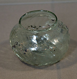 Anglo-Saxon glass - The Shaftesbury Bowl from Winchester Cathedral, a late 10th century glass jar found in front of the High Altar at Shaftesbury Abbey, which may have contained the heart of King Canute, who died at Shaftesbury c. 1035 but was buried in Winchester. It is the only complete piece of late Saxon glass in England.