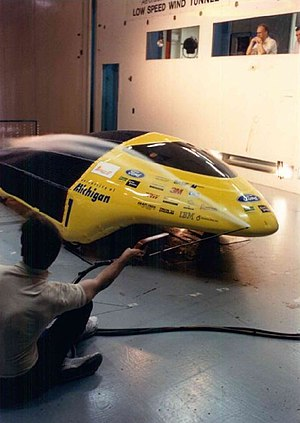 "1993 ""Maize & Blue"" University of Michigan Solar Car - Wind Tunnel Testing"