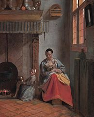 Woman Nursing an Infant, with a Child and a Dog