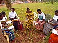 Womens read about their legal rights in a public awareness campaing (Benin) (5579786047).jpg
