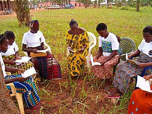 Legal awareness - Women read about their legal rights in a public awareness campaign (Benin)