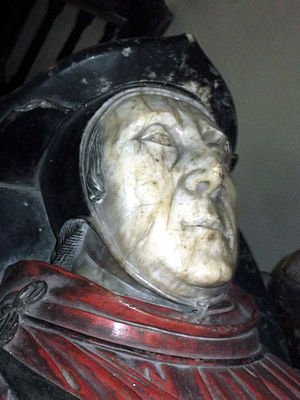 George Bromley (politician) - Effigy of Chief Justice Thomas Bromley, the cousin of Sir George Bromley's father, in St Andrew's parish church, Wroxeter, Shropshire.
