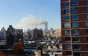 Timeline for the day of the September 11 attacks - The Twin Towers burning from the impact of flights 11 and 175.
