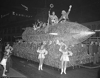 Santa Claus parade - A rocket ship float with Santa Claus during a Christmas parade in Los Angeles, 1940