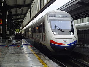 A westbound train waiting to depart Ankara station