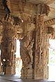 Yali pillars in a small open mantapa in the Vitthala temple complex in Hampi 1.JPG