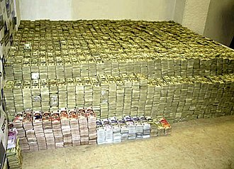 Illegal drug trade - US$207 million and additional amounts in other currencies were confiscated from Mexican Zhenli Ye Gon in 2007.