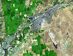 Yuba River - Satellite view of the lower Yuba River -- Yuba City/Marysville and the Feather River lie near the bottom left; Yuba Goldfields are in the upper right center