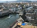 Zürich - Gmüesbrugg - Rathaus - Lindenhof - Schipfe - Limmat - Käferberg - Sicht vom Grossmünster Karlsturm IMG 6413.JPG
