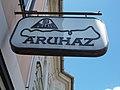Zala Balaton department store sign. - Kossuth Lajos Street, Keszthely, 2016 Hungary.jpg