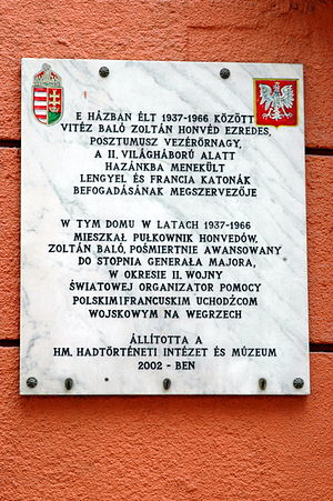 Zoltán Baló - A memorial tablet to Zoltan Baló, erected on his house in Budapest