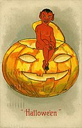 """Hallowe'en."" (Devil-demon seated on top of a Jack-O-Lantern)"
