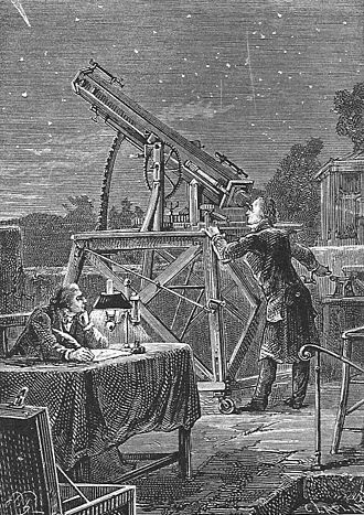 Off on a Comet - John Herschel observes Comet Halley from his observatory in Cape Town in 1835 (illustration from the book).
