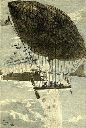 Aerial ramming - In Jules Verne's novel Robur the Conqueror, Robur almost rams his propeller-powered flying vessel Albatross into the slower blimp Goahead