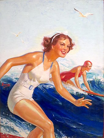 From the end of World War II onwards, depictions and photographs, such as this, of Hawaii as a tropical, leisure paradise encouraged the growth of tourism in Hawaii, which eventually became the largest industry of the islands. 'Two Surfer Girls' by William Fulton Soare, oil on canvas, c. 1935.JPG
